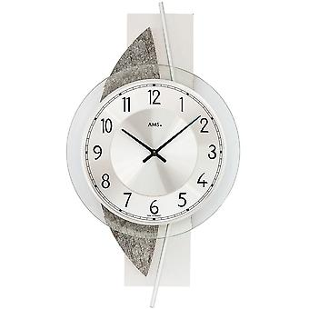 AMS 9552 wall clock quartz silver natural stone look with aluminium and glass modern