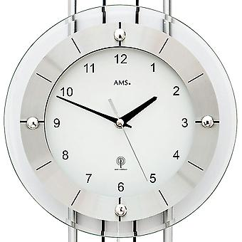 Wall clock radio radio controlled wall clock with pendulum AMS 5248 modern silver pendulum clock with glass
