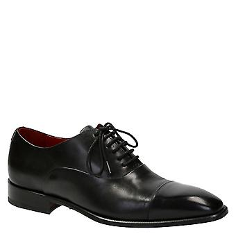 Men's oxfords cap toe shoes in black color leather
