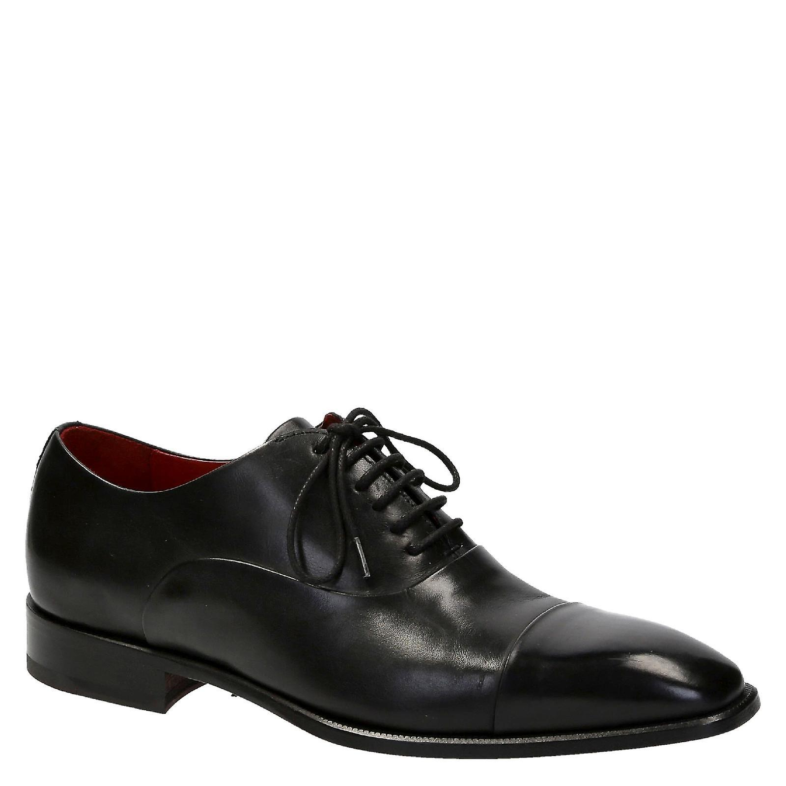 Lacets pour hommes cap toe chaussures en cuir de Couleur noire
