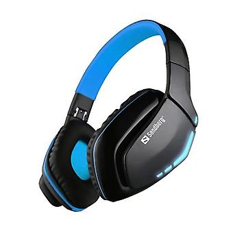 Sandberg Blue Storm Bluetooth Headset, Microphone, 40mm Driver, Foldable, Black & Blue, 5 Year Warranty