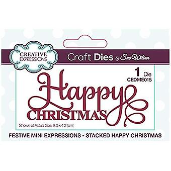 Sue Wilson Creative Expressions Festive Collection Happy Christmas Die