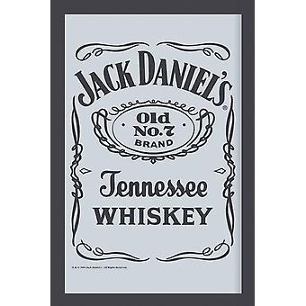 Jack Daniel's spiegel zwart label wand spiegel met zwarte kunststof framing hout.