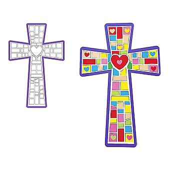 12 Giant Christian Cross Mosaic Sticker Scenes | Sunday School Messy Church