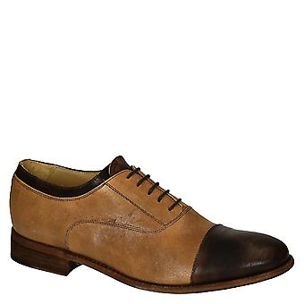 Two tone tan/brown horse leather men's oxfords shoes