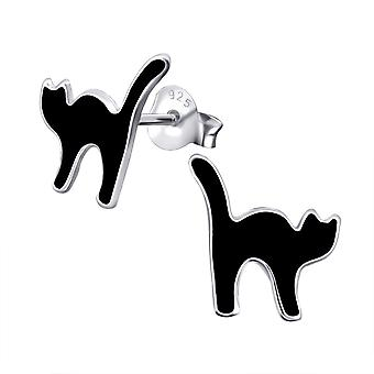 Cat - 925 Sterling Silver Colourful Ear Studs - W19086x
