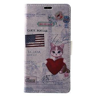 Sony Xperia XZ1 Plånboksfodral - Cat Holding Heart