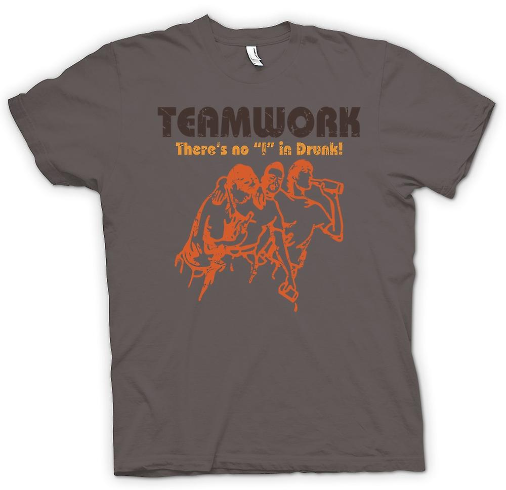 Womens T-shirt - Teamwork - Theres No I In Drunk - Drinking