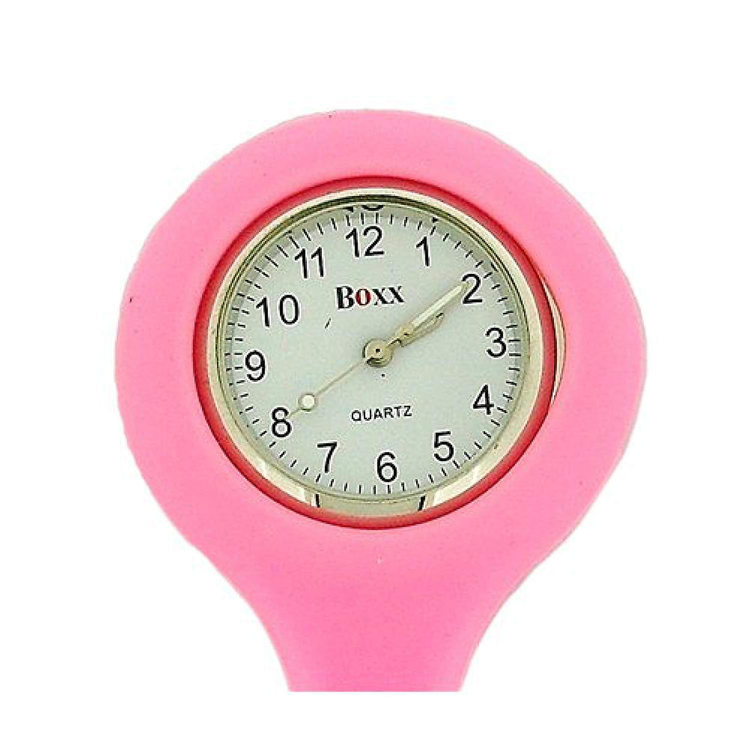 Boxx Ladies Pink Luminous Hands Rubber Infection Control Nurses Fob Watch