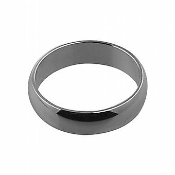 9ct White Gold plain D shaped Wedding Ring 5mm wide in Size I
