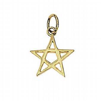 9ct Gold 13x13mm plain Pentangle Pendant or Charm