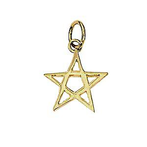 9ct Gold 13x13mm plain Pentangle Pendant or Charm