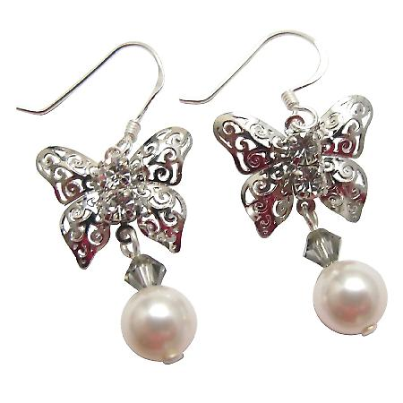Silver Butterfly White Swarovski Pearl Black Diamond Crystals Earrings