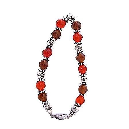 Faceted Glass Red Brown Bracelet w/ Daisy Spacer Sparkling Bracelet
