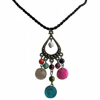 Moteriktig morsomt kjede flere farger perler og Shell halskjede som gave