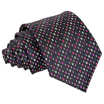 Svart med rosa og sølv bohemske geometriske klassisk slipset