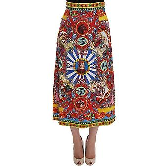 Dolce & Gabbana Red Carretto Print Brocade Crystal Skirt -- SKI1237360