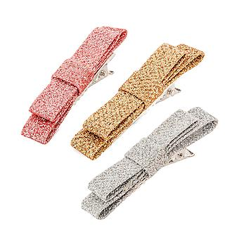 Girls 3 pack of sparkly bow hair clips