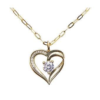 Gouden ketting met hart hanger