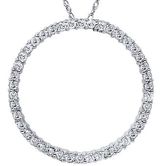 1ct Diamond cirkel van leven eeuwigheid hanger 14K wit goud