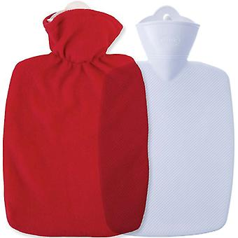 Hugo Frosch Classic Hot Water Bottle Red Fleece Cover 1.8L
