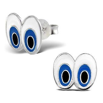Sterling Silver Retro Cartoon Eyes Stud Earrings