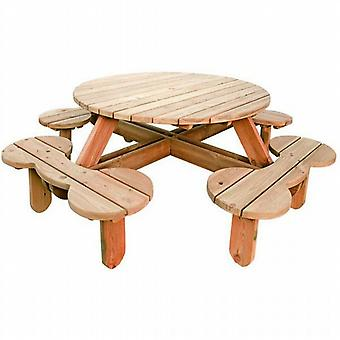 BrackenStyle Orbit Round Pine Garden Picnic Table 1.12m