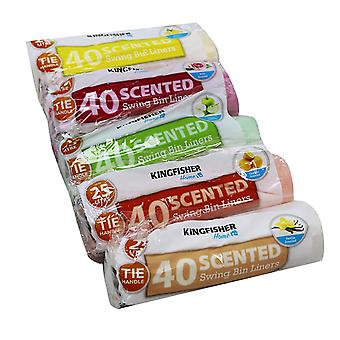 5 Assorted Packs of 40 Kingfisher Scented Value 18L Litre Pedal Bin Liners