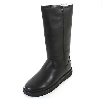 UGG Women's Classic Lux Abree II Leather Zip Up Boot Nero