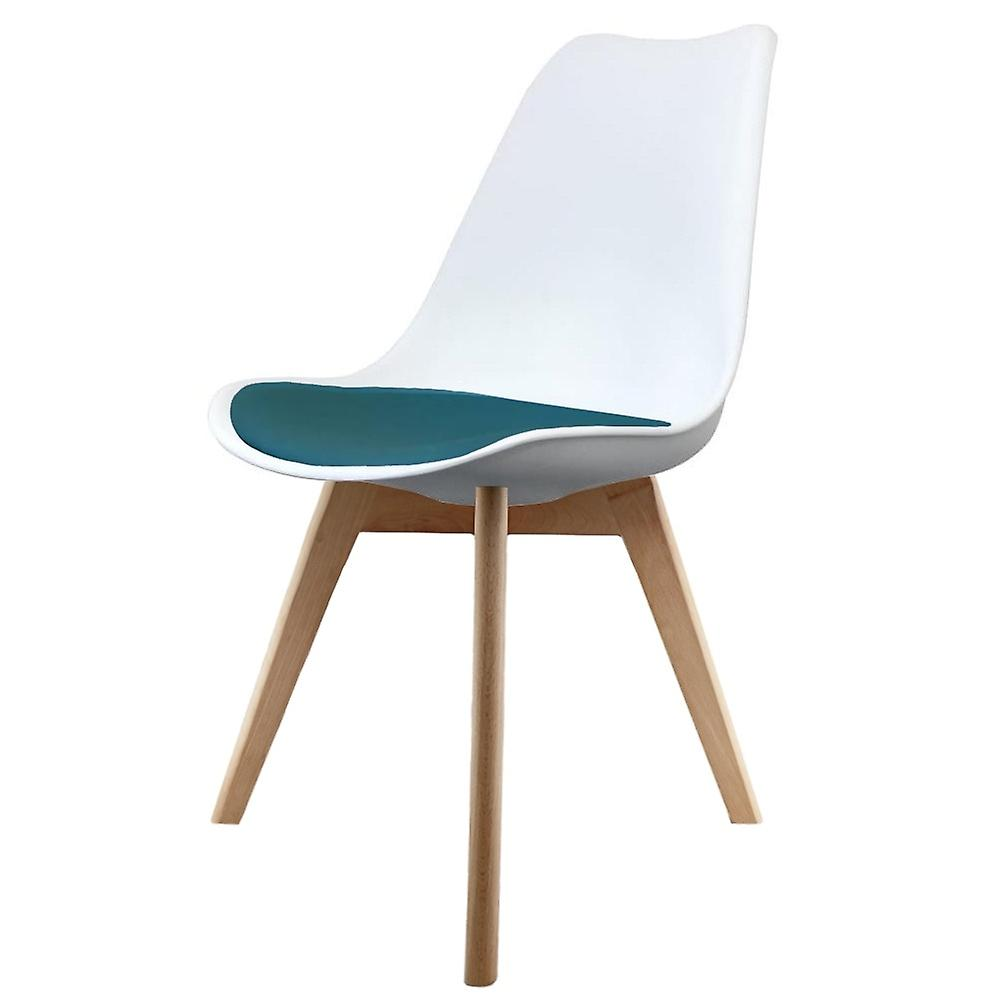 Fusion Living Eiffel Inspirouge blanc And Teal Dining Chair With Squarouge lumière bois Legs