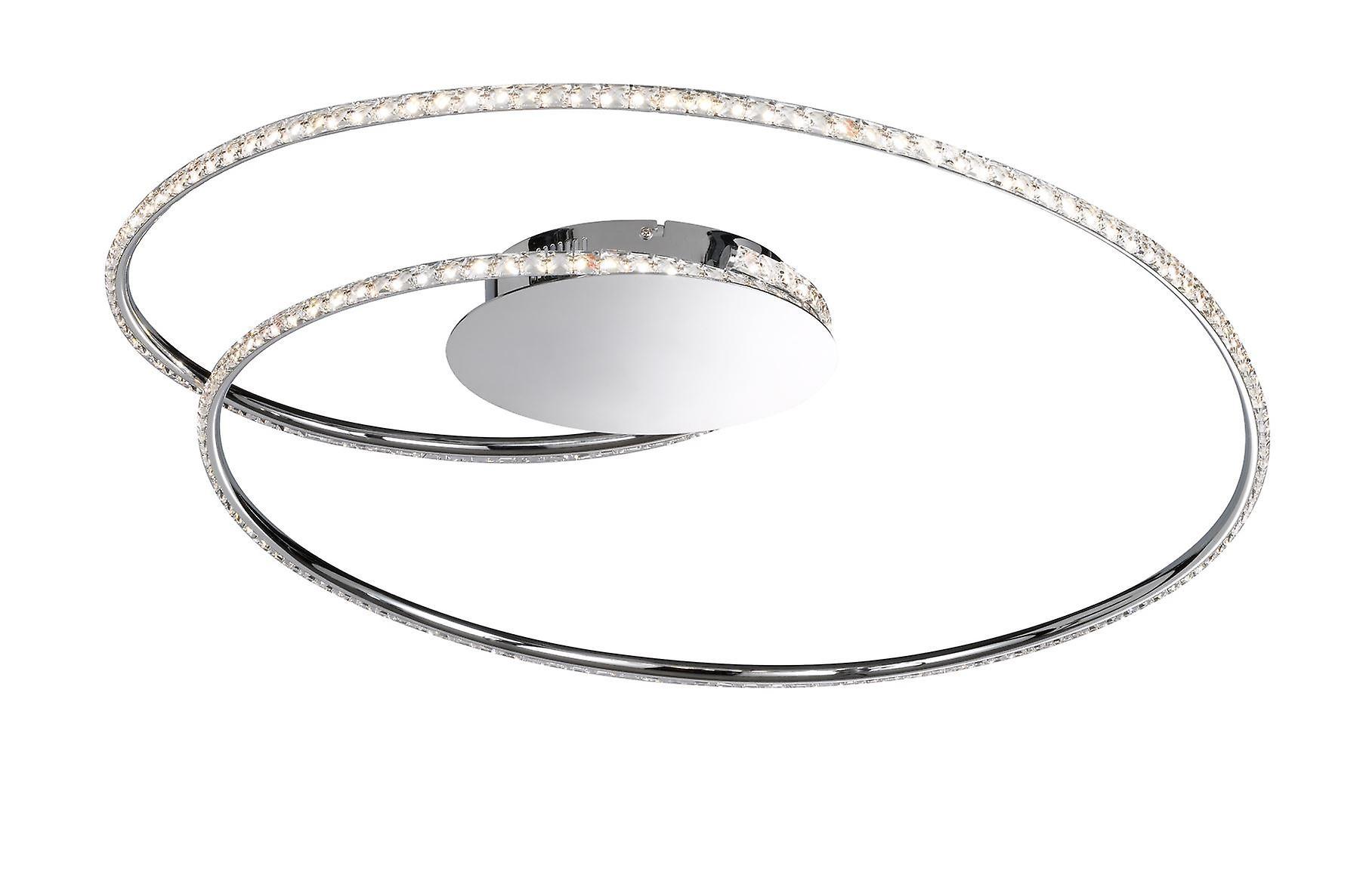 Wofi Opus - Dimmable LED 1 Light Flush Plafond Lumière Chrome - 9422.01.01.6700