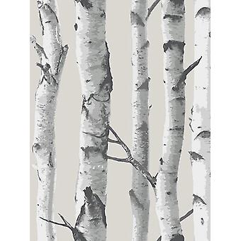 NuWallpaper Birch Tree Peel og Stick Wallpaper Grey fine decor NU1650