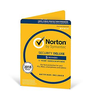 NORTON SECURITY DELUXE 3.0 IN 1 USER 5 DEVICES 12MO CARD DVDSLV RET