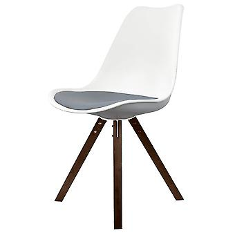 Fusion Living Eiffel Inspired White And Dark Grey Dining Chair With Square Pyramid Dark Wood Legs