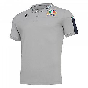2019-2020 Italie Macron Rugby Officiel Cotton Polo Shirt Gris