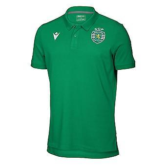 2019-2020 Sporting Lisbon Macron Cotton Polo Shirt (Green)