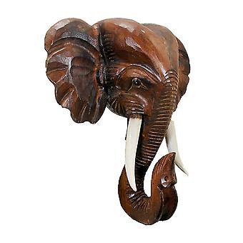 Handsnidade elefant huvud trävägg hängande 20 Inches hög