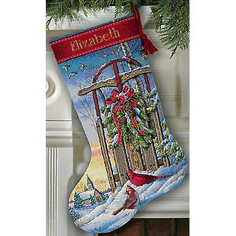 Gold Collection Christmas Sled Stocking Counted Cross Stitch 16