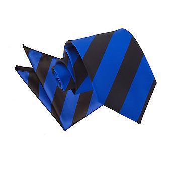 Königsblau & schwarz gestreifte Krawatte & Einstecktuch Satz