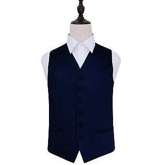Navy Blue Plain Satin Wedding Waistcoat