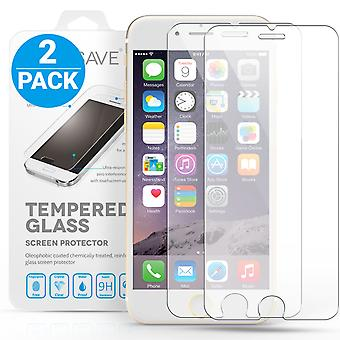 Yousave Accessories iPhone 6 6s Plus Glass Screen Protector Twin Pack