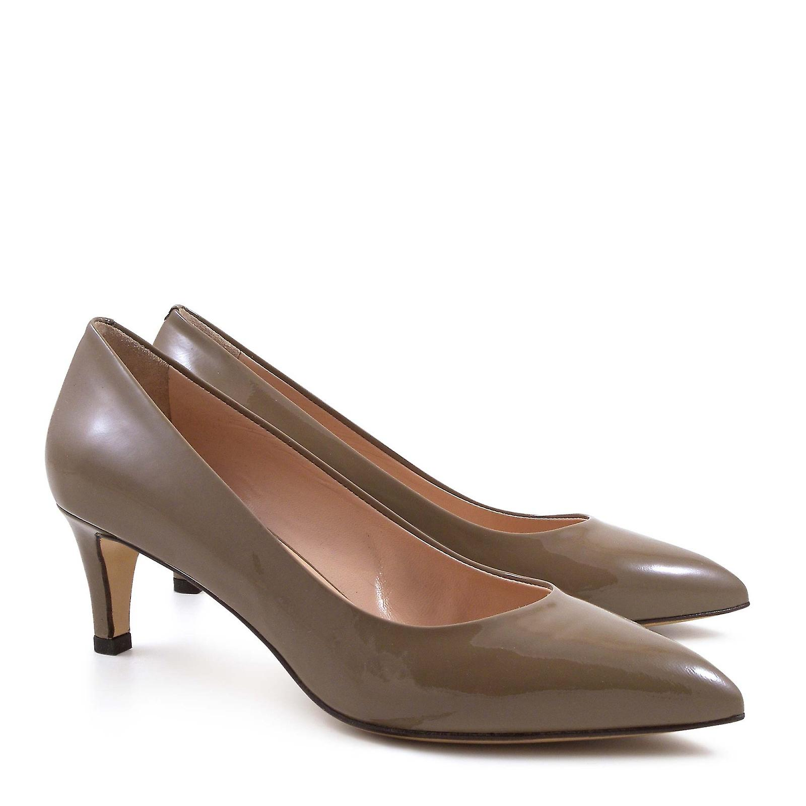 Handmade hazelnut patent leather pumps heels pumps leather shoes 292307