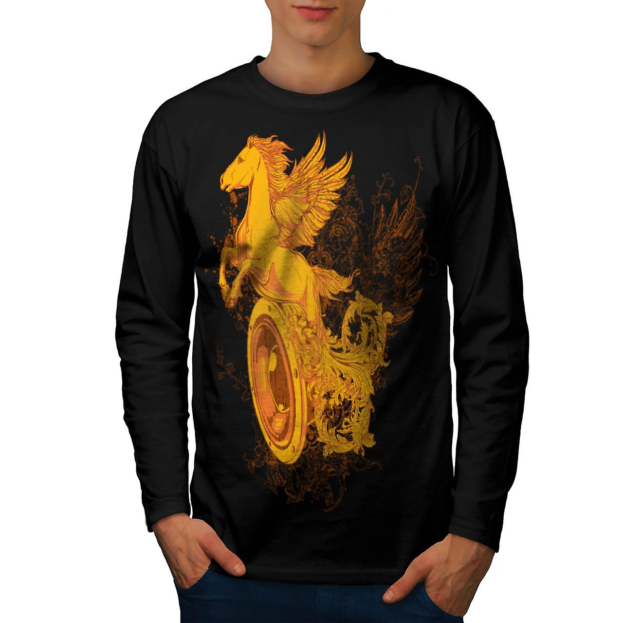 Pegasus Freedom Music Mythical Men Black Long Sleeve T-shirt | Wellcoda