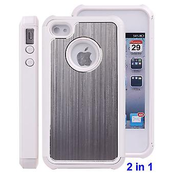 The metal brushed aluminum cover and rubber TPU-iPhone 4/4S (white)
