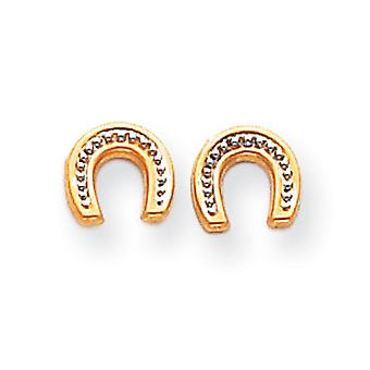 14k or jaune poli et Rhodium Horseshoe Post boucles d'oreilles -.3 grammes - mesures 7x8mm
