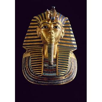 Tutankhamen  The Gold Mask  1342 BCE Gold Inlaid with jewels  Egyptian National Museum Cairo Poster Print