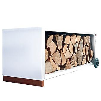 RADIUS fireplace wood car steel white 110 x 41 x 41 cm with castors - 470 d