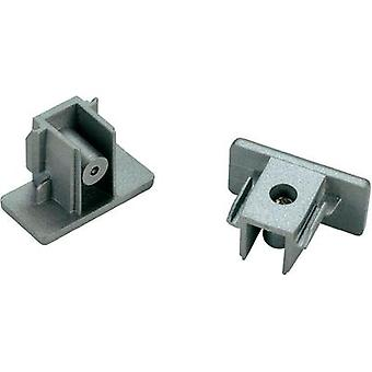 High voltage mounting rail End piece 2-piece set SLV 1-phase 143132 Silver-grey