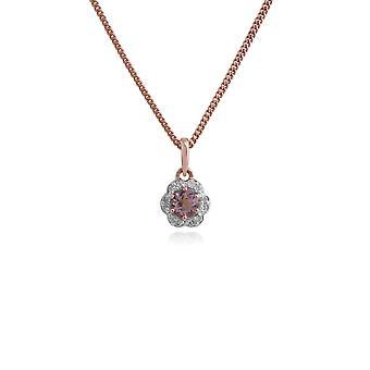 Gemondo 9ct Rose Gold 0,18 ct Morganite & diamant blomster anheng på 45cm kjeden