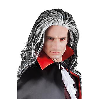 Halloween Mens Vampire Louis Long Black and White Wig Fancy Dress Accessory